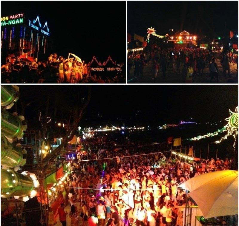 Música eletrônica, reggae, pop e diversos outros estilos tocando em mais de 10 tendas espalhadas na praia de Haad Rin