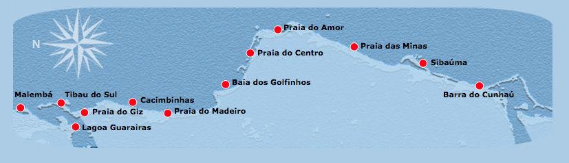 Mapa das Praias de Pipa RN