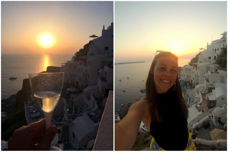 por do sol com vinho em santorini