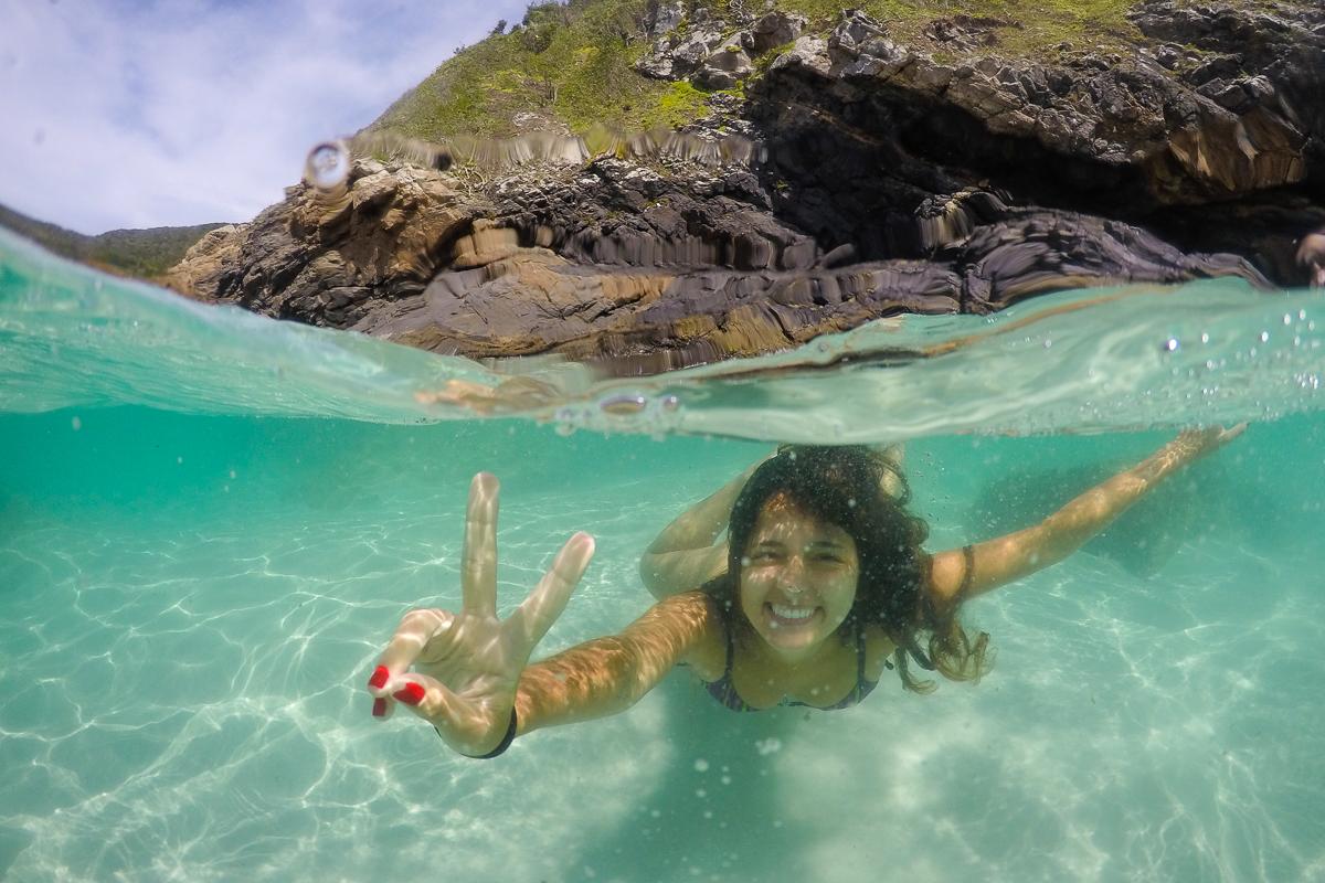 Água cristalina em Arraial do Cabo