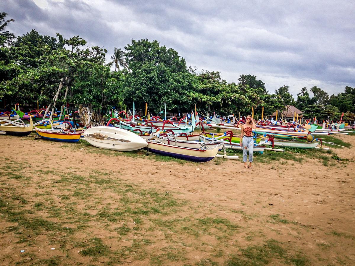 Barcos na Praia de Sanur, Bali