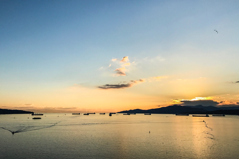 por do sol em English Bay, Vancouver