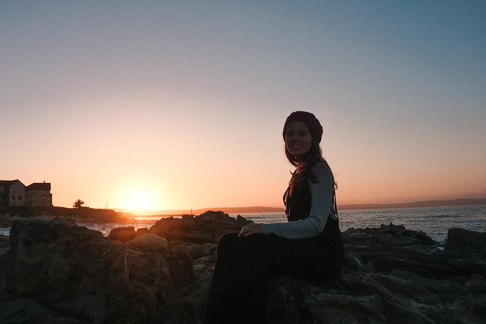 Pôr do sol na praia de Mossel Bay