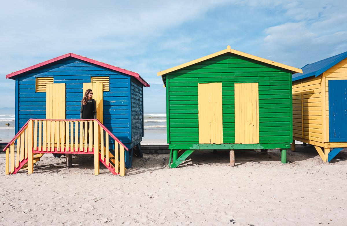 Casas coloridas de Muizenberg Beach em Cape Town