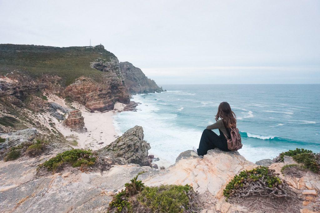 Vista do mar e das montanhas do Cabo da Boa esperança em Cape Town