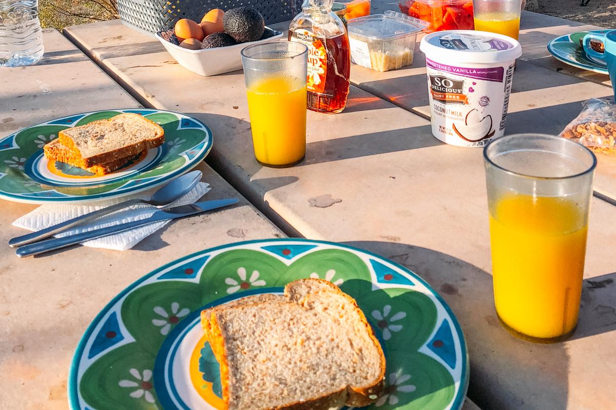 Café da manhã no camping