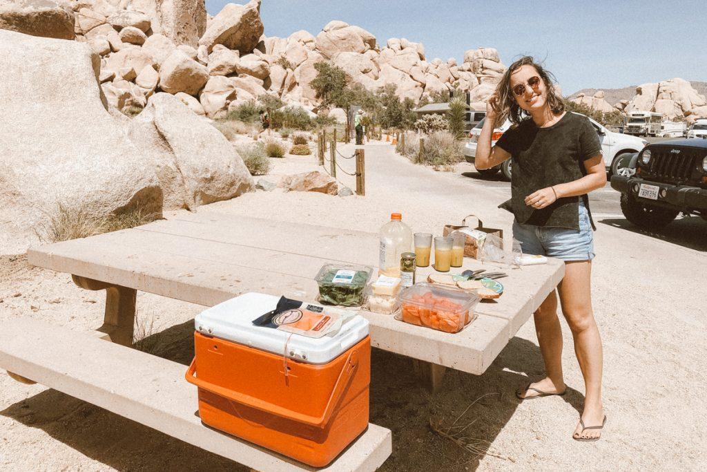 Almoço em camping nos EUA