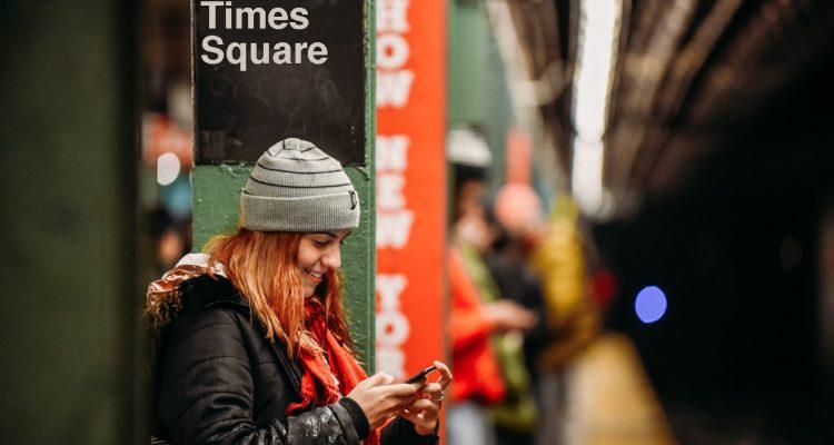 Foto na estação do metro de Times Squares