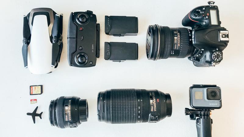 Equipamentos de fotografia de viagem