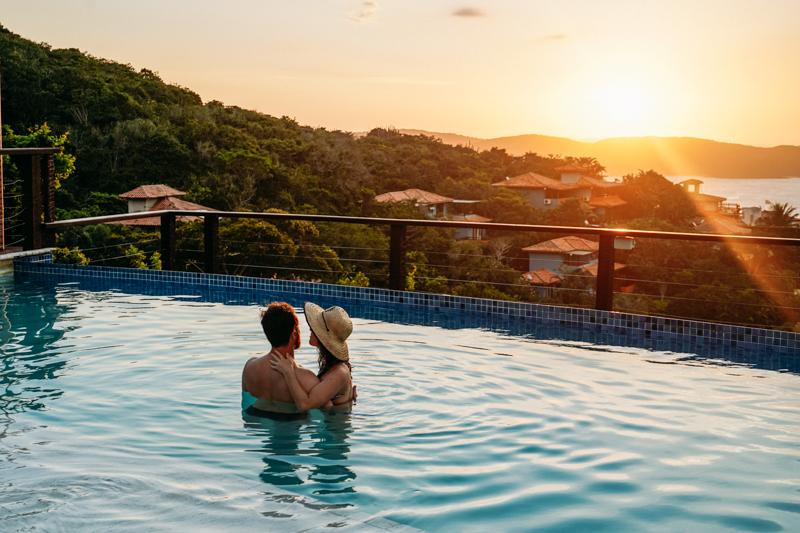 Por do sol com vista para a Praia de João Fernandes