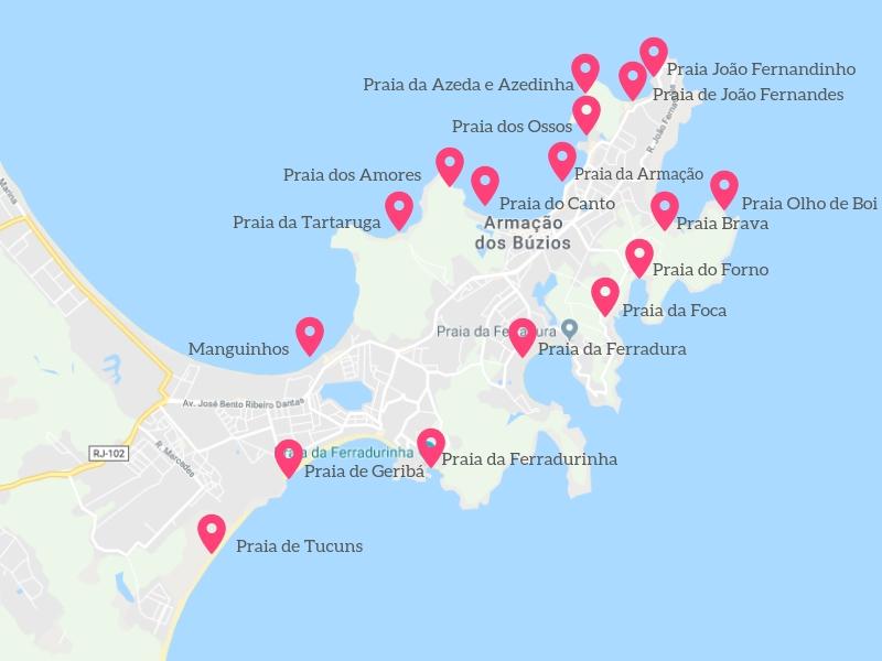 Mapa com as melhores praias de Búzios