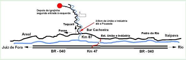 mapa de como chegar na Pousada Paraíso em Petrópolis