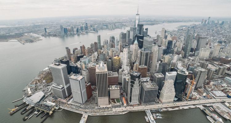 Lower Manhattan vista do helicóptero