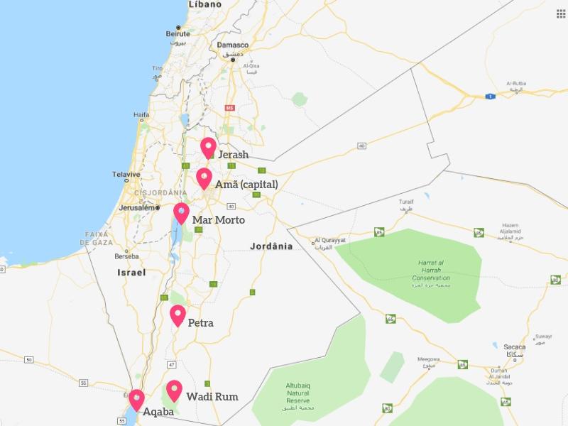 Mapa com os principais pontos para você conhecer na sua viagem para a Jordânia