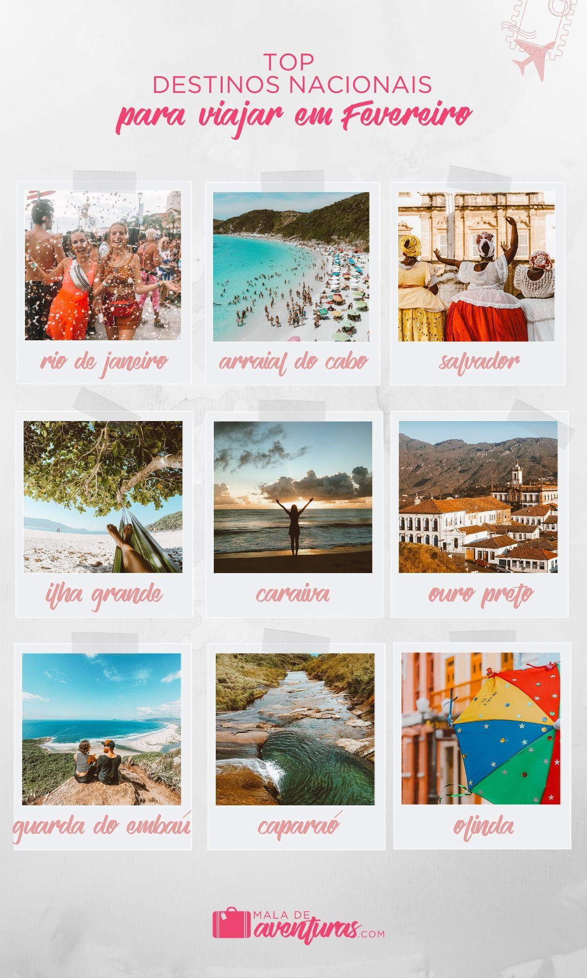 top destinos para viajar em fevereiro