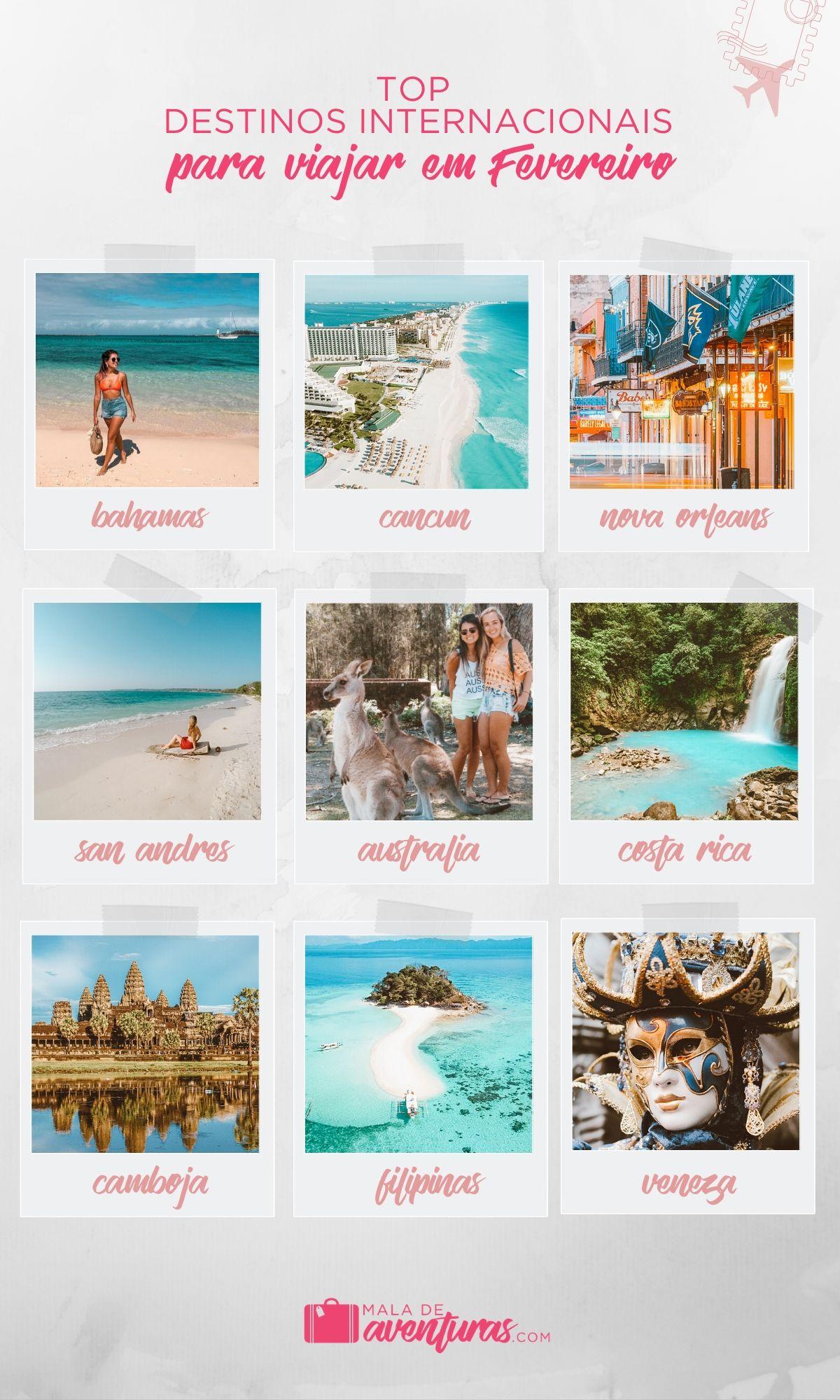 para onde viajar em fevereiro pro exterior