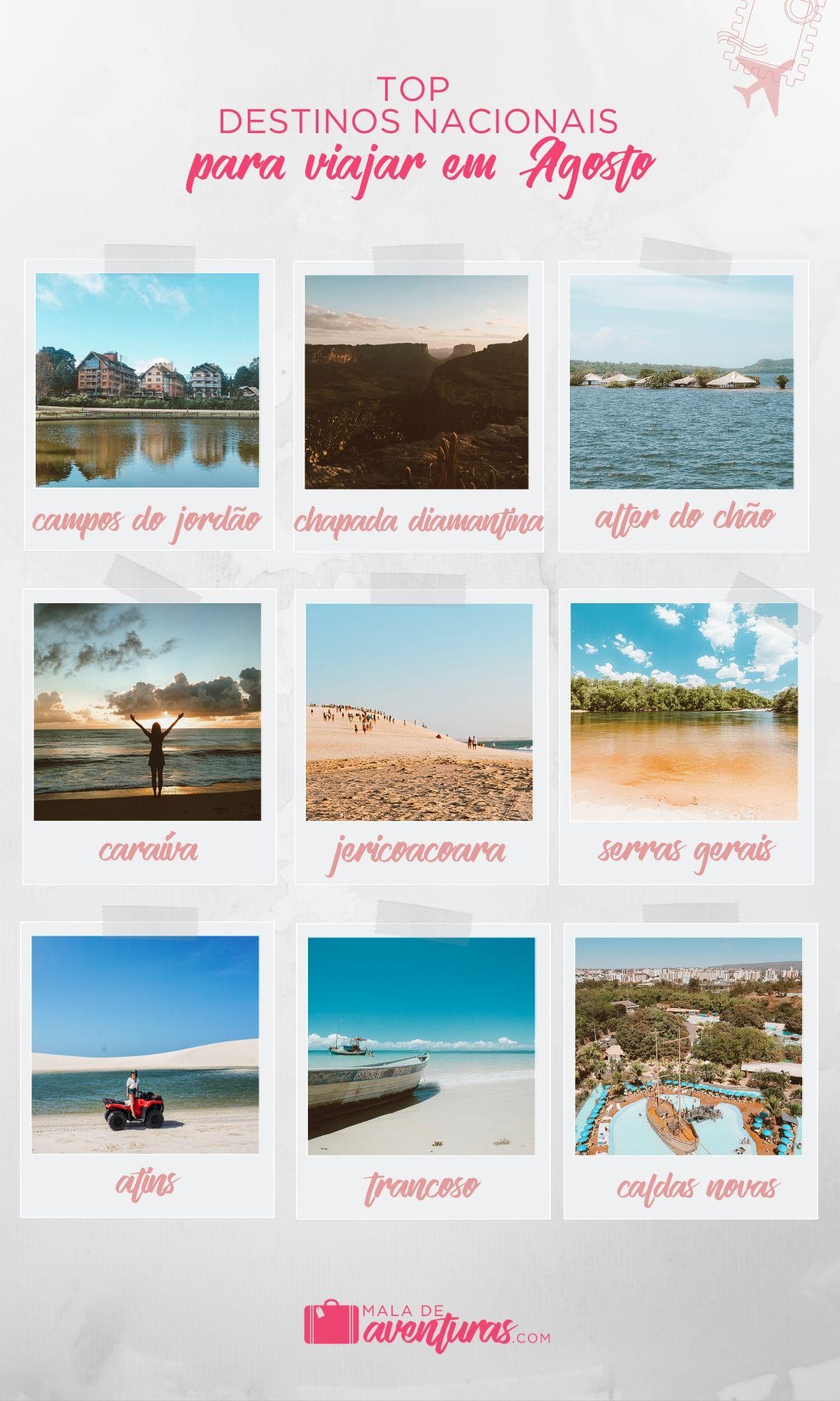 para onde viajar em agosto no brasil
