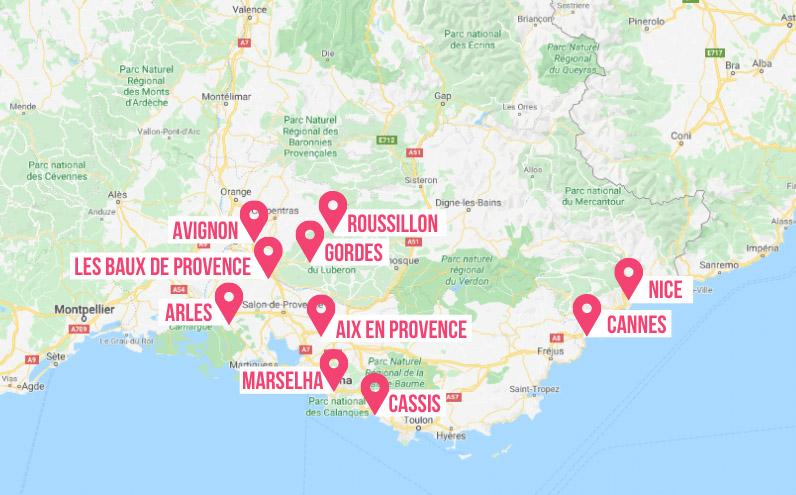 mapa cidades da provence