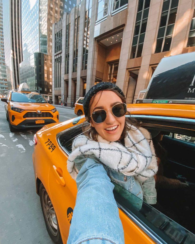 fotos com taxi em nova york