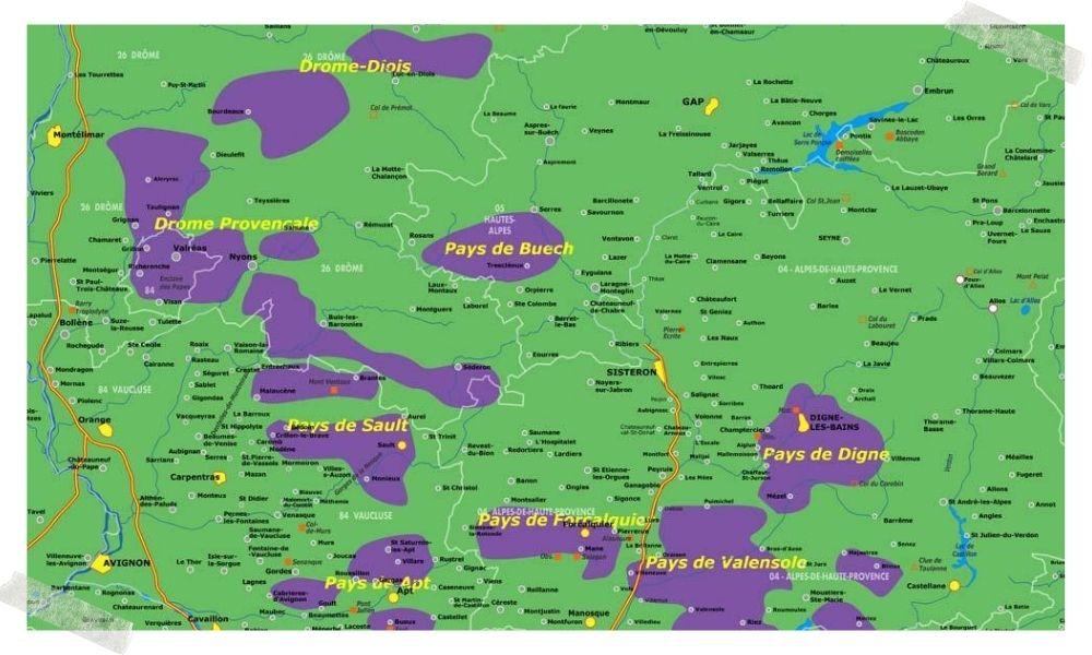 mapa campos de lavanda da França