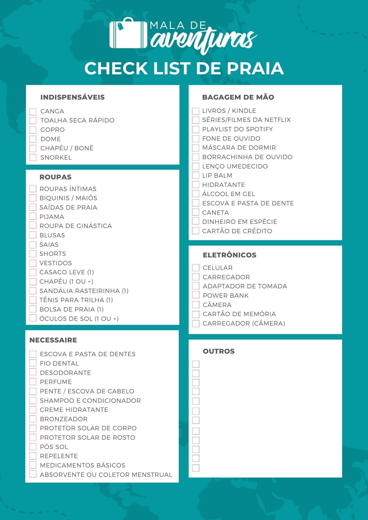 Checklist o que levar para a praia